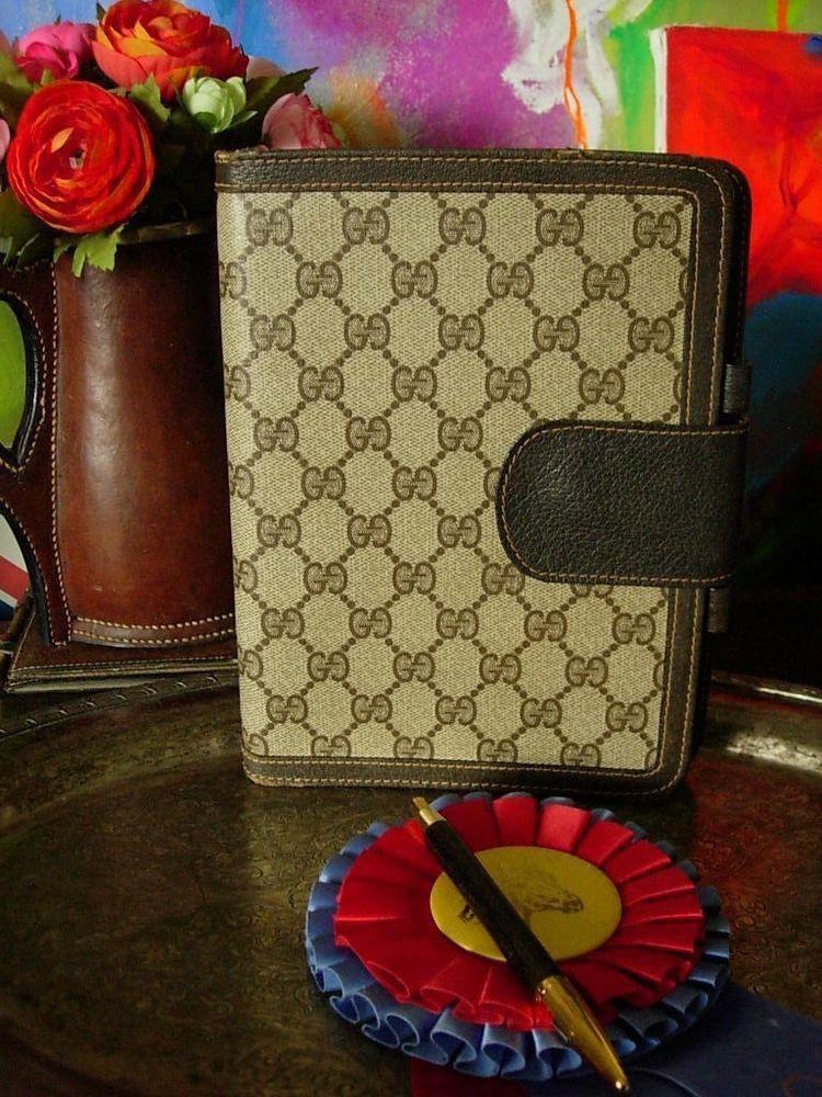 3e4668793b83d1 RARE Vintage GUCCI Monogram Organizer Portfolio Tablet Notebook Agenda  Accessory  Gucci