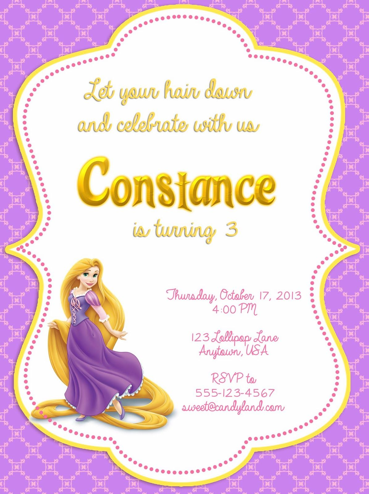 I Make I Share: Disney Tangled Printable Invitation   Rapunzel by ...