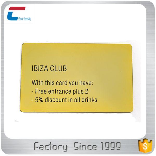 Etched Golden Metal Club Membership Card  Rfid