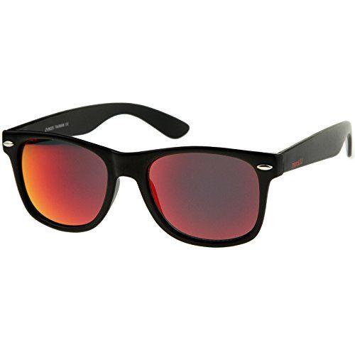 c0e7a02027 zeroUV – Matte Finish Reflective Color Mirror Lens Large Square Horn Rimmed  Sunglasses 55mm Lentes