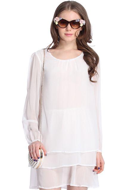 ROMWE | Beige Long Sleeve Cascading Ruffle Chiffon Dress, The Latest Street Fashion