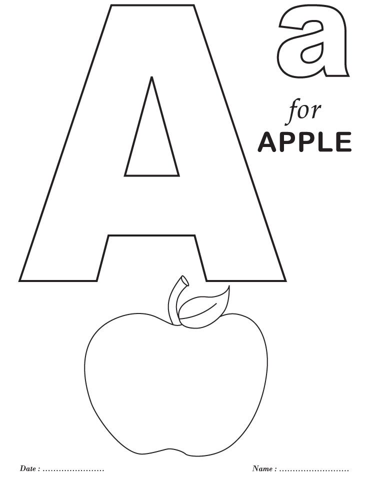 printables alphabet a coloring sheets alphabet coloring pages preschool coloring pages apple. Black Bedroom Furniture Sets. Home Design Ideas