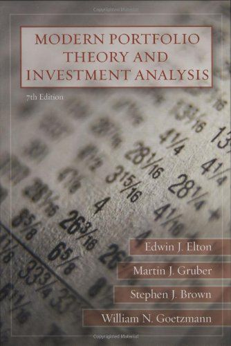 Modern Portfolio Theory and Investment Analysis by Edwin https - investment analysis