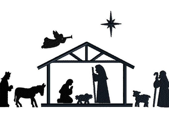 Christmas Nativity Silhouette Clip Art For Commercial Use Etsy Nativity Silhouette Nativity Scene Silhouette Embroidery Design Sets
