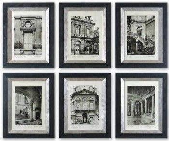 These monotone prints  from Cornerstone Home Interiors $350.00  are accented by wooden frames with a black finish. The frame's inner lip has a glazed champagne finish. 6/Set www.cornerstonefurniture.ca