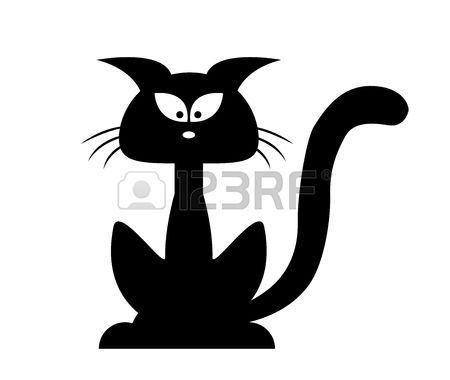 Chat Dessin Halloween Chat Noir Silhouette Vecteur Cartoon
