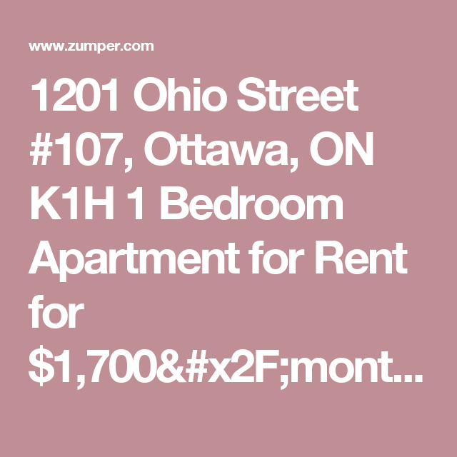 1201 Ohio Street #107, Ottawa, ON K1H 1 Bedroom Apartment
