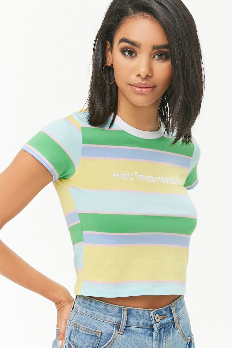 76258cf1257a Not Interested Graphic Striped Tee   Modern day in 2019   Tops ...