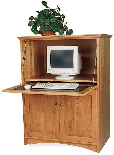 Small computer armoire Narrow This Small Computer Armoire Allows You To Hide Your Work Space From Guests And Keeps You Extra Organized Neat Clean Appearance In The Pinterest Here Is Much More Traditional Home Office Option This Small