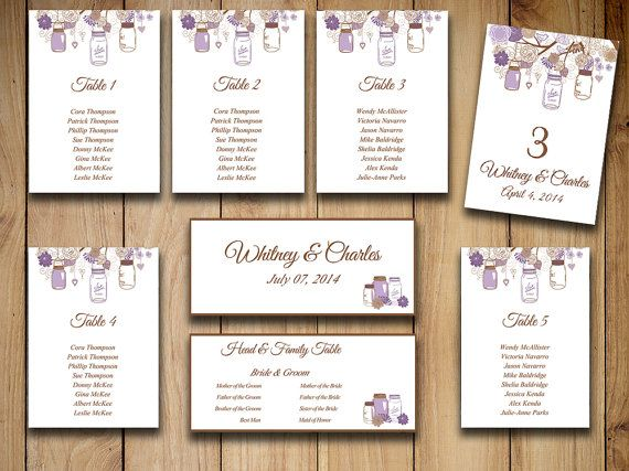 Rustic Wedding Seating Chart Template  Mason Jar Purple Chocolate