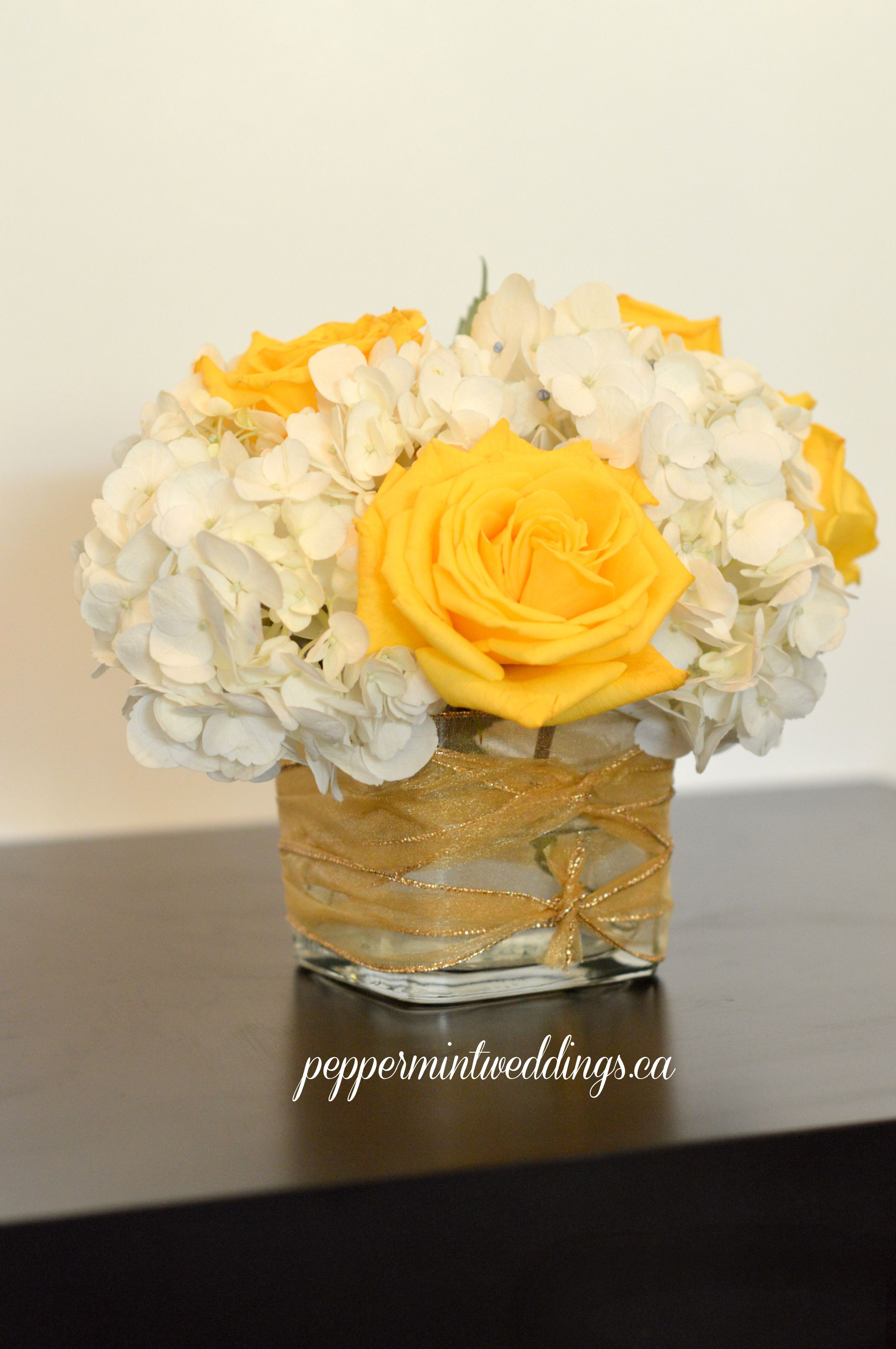 Classic Short Hydrangea And Roses In A Cube Vase Yellow Wedding