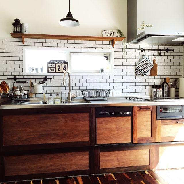 キッチン ウォールナット無垢材 サリュ Ikea セミオーダーキッチン