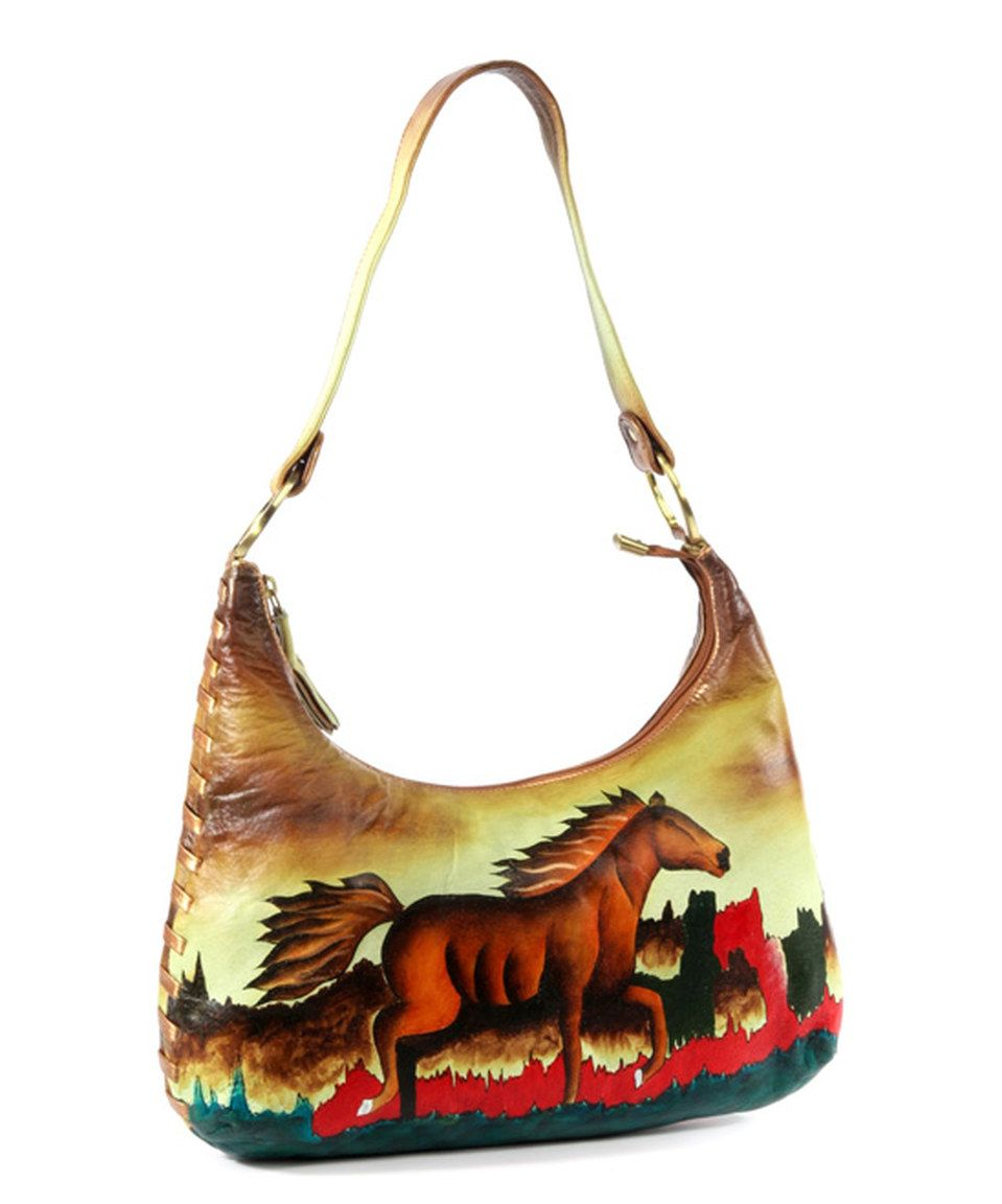 Magnifique Bags Yellow Red Horse Hand Painted Leather Shoulder Bag By Zulilyfinds