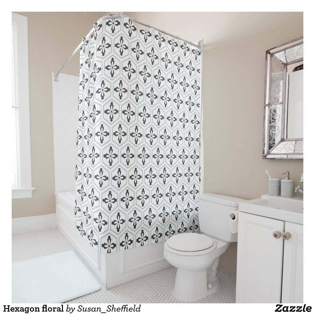Hexagon Floral Shower Curtain