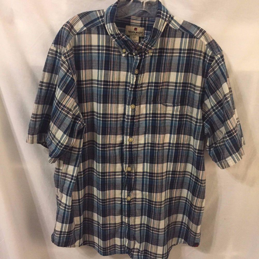 Flannel shirt with shorts  Woolrich Menus Button Down Shirt Size Large Short Sleeve Shirt Plaid