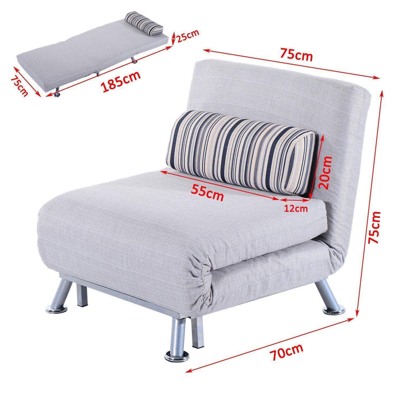 Homcom Fold Out Futon Sofa Bed Single