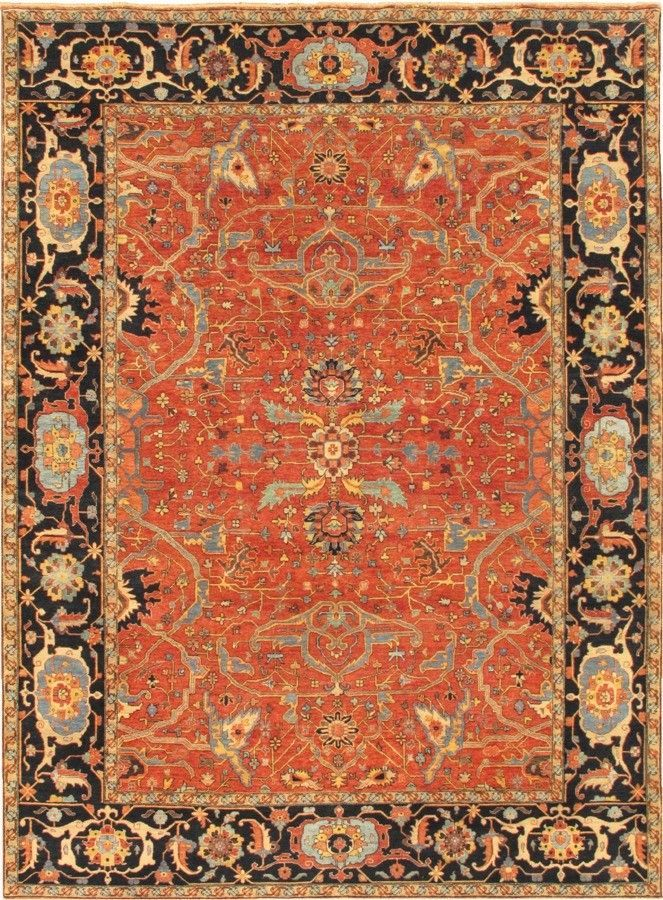 Ferehan Oriental Hand Knotted Wool Rust Area Rug Rugs Wool Area Rugs Area Rug Design