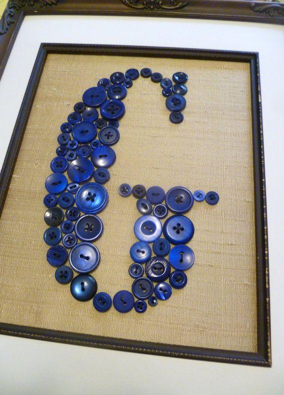 Baby Boy Nursery Button Monogram Navy Blue On Antique White Silk
