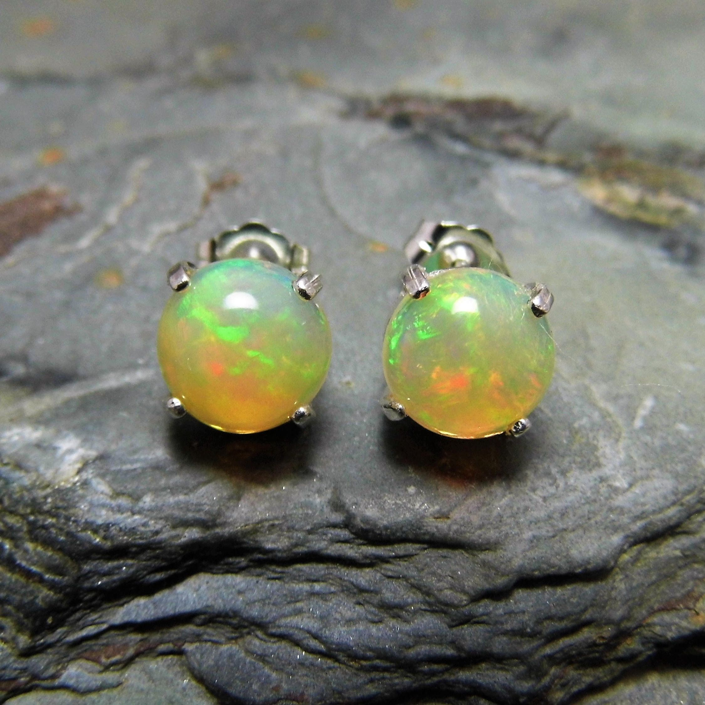 stud cabochon rainbow aaa studs earrings il fire silver genuine opal fullxfull natural listing