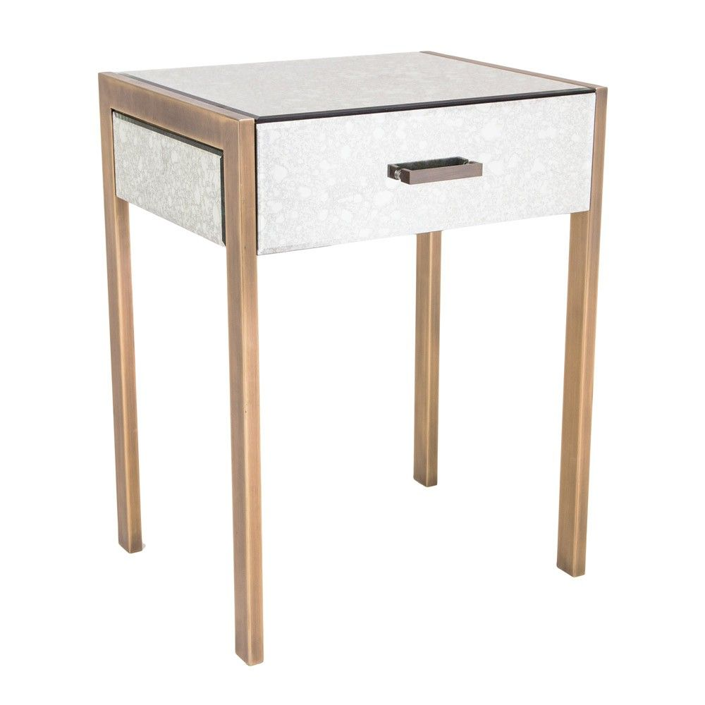 Delicieux RV Astley Antique Mirror Side Table Brass