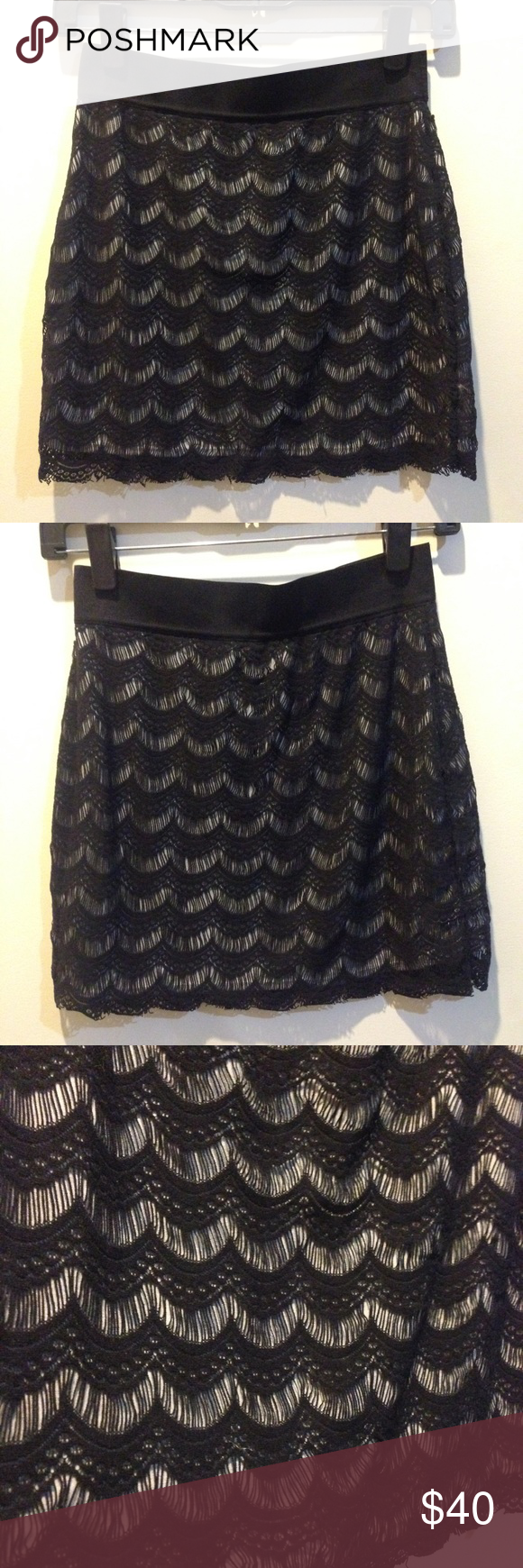 FREE PEOPLE Black Lace Overlay Scalloped Skirt Free People skirt with a black lace overlay on a white background. Waist is elastic, no closures and is in new condition. Size XS! Beautiful whimsical style :) Free People Skirts Mini