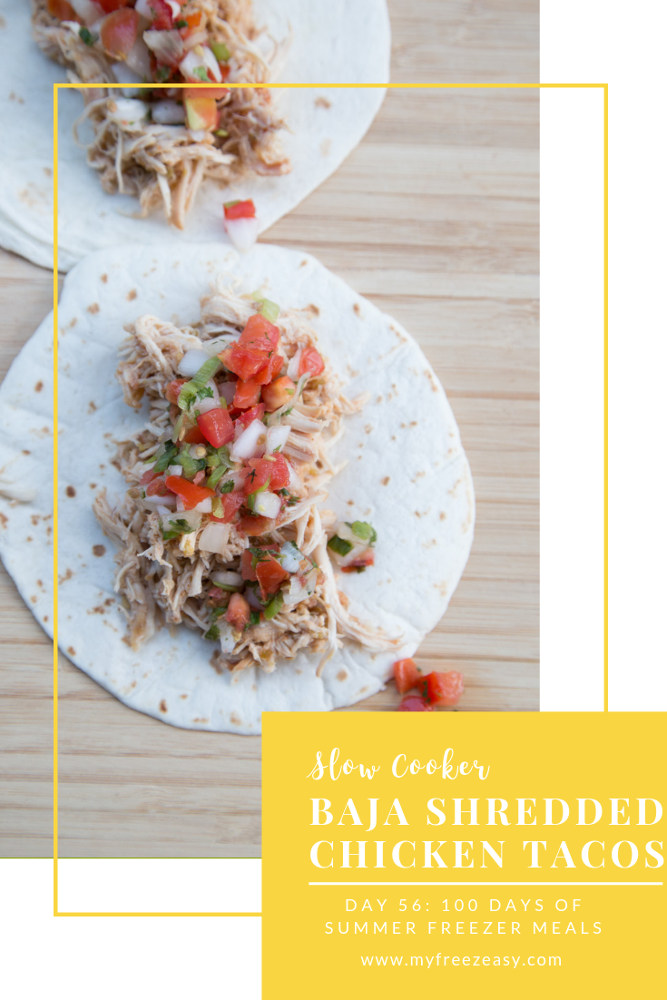 Day 56: 100 Days of Summer Freezer Meals #shreddedchickentacos