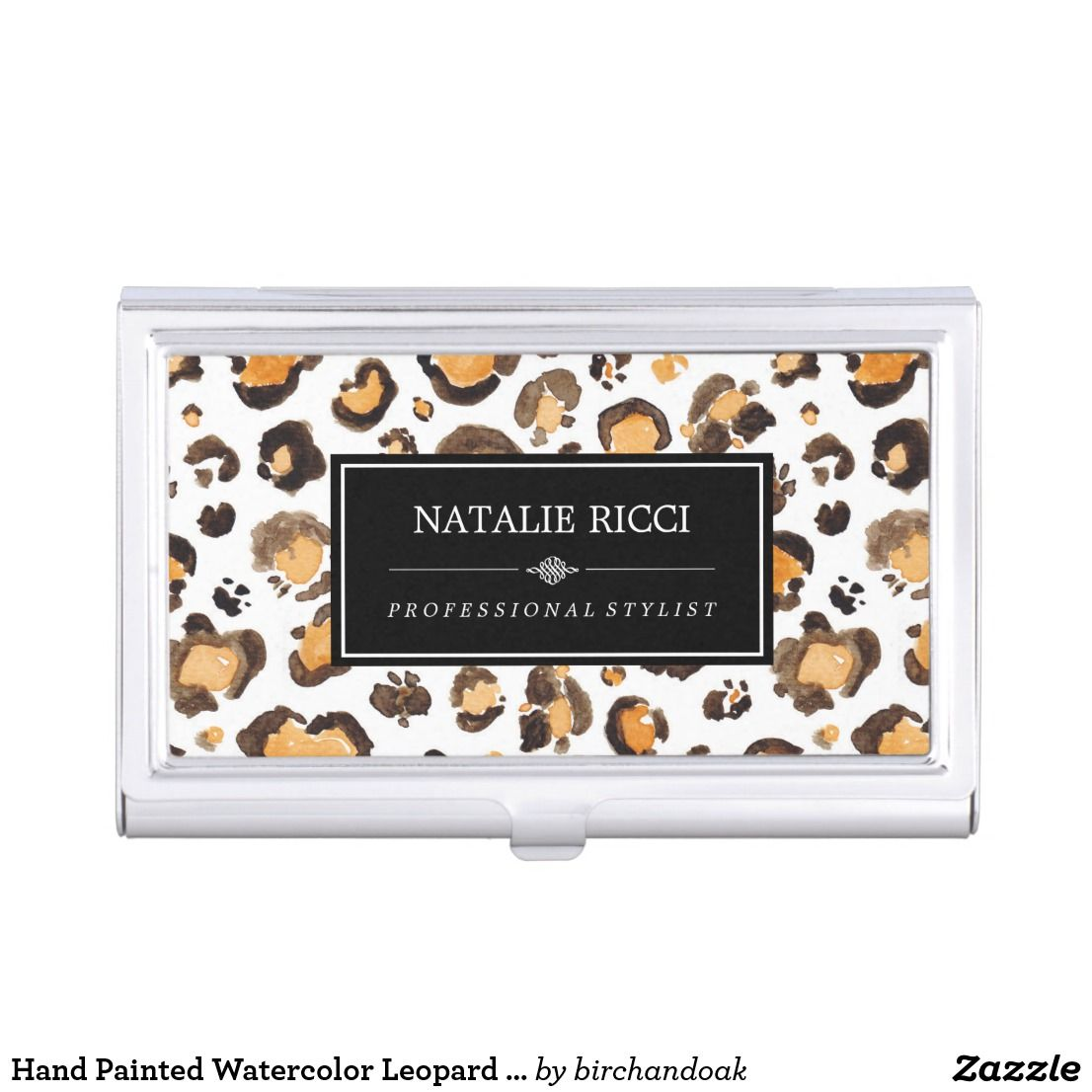 Hand Painted Watercolor Leopard Spots Custom Name Business Card Case ...