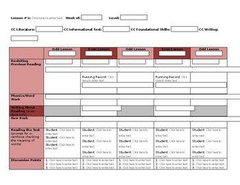 Lli Lesson Plan Template Red Kit  Lesson Plan Templates Leveled