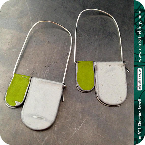 Distressed White Apple Green Upcycled Tin Earrings Mod Arches Tin Anniversary Gift for Her Contemporary Design Everyday Ethical Art Jewelry by christineterrell for adaptive reuse on Etsy