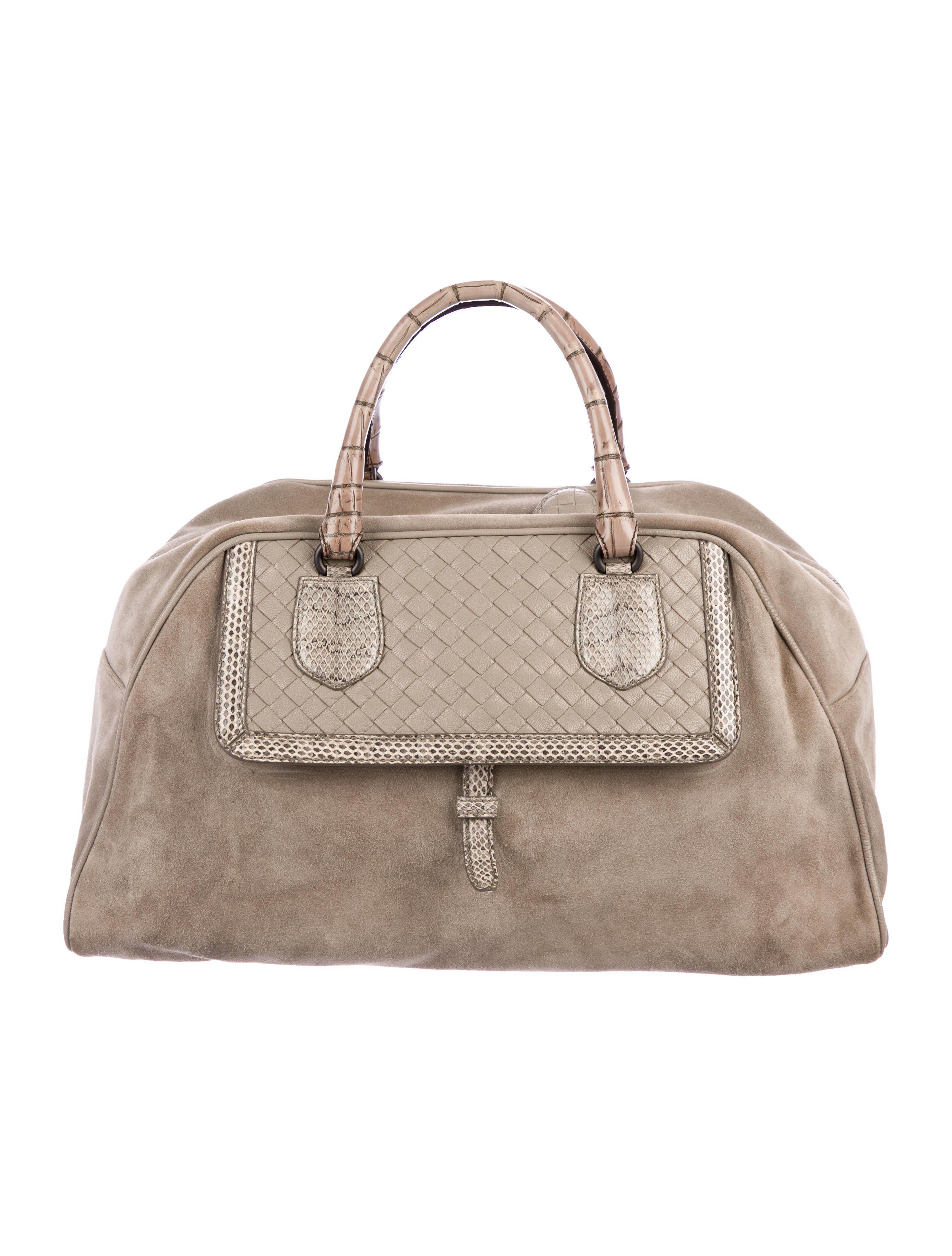 7a0491e2d9 Light taupe suede Bottega Veneta bowler bag with gunmetal hardware ...
