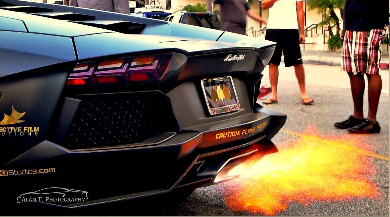 Lamborghini Aventador Shooting Flames And Redline Hard Revs. The Aventador(Batventador)  Is Fitted With Afte.