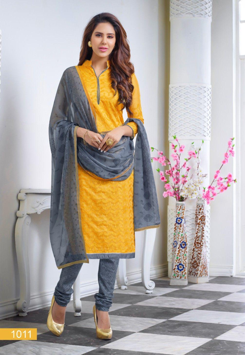 25db13e3d13 Diwali Special Yellow Colour Churidar Dress Material-1011