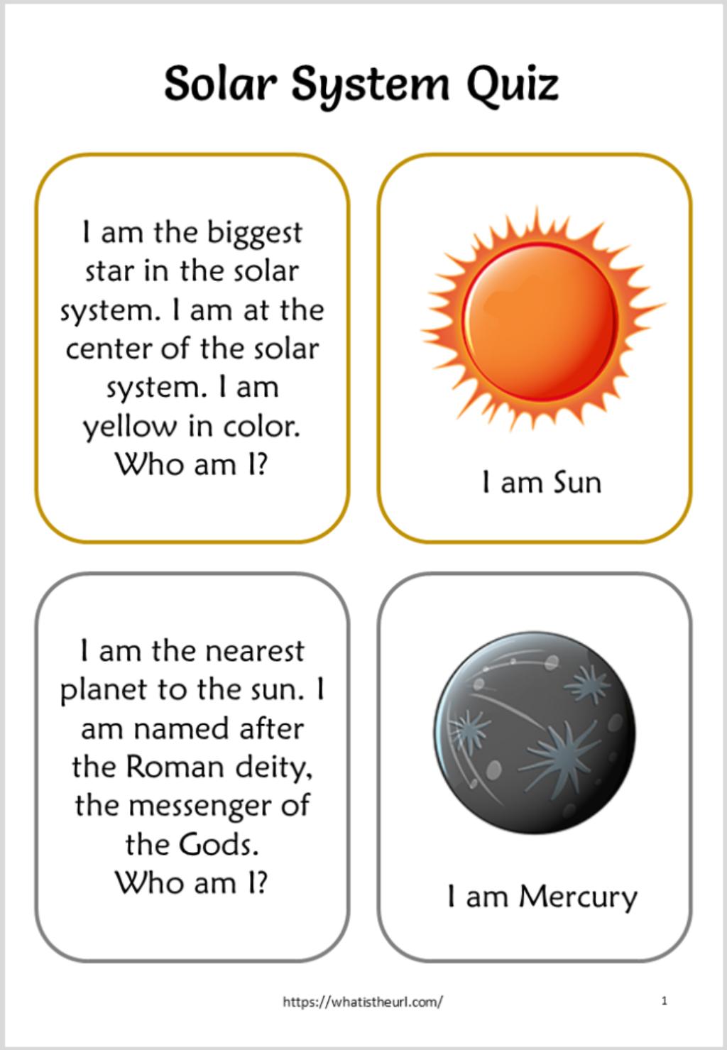 Solar System Quiz For Kids
