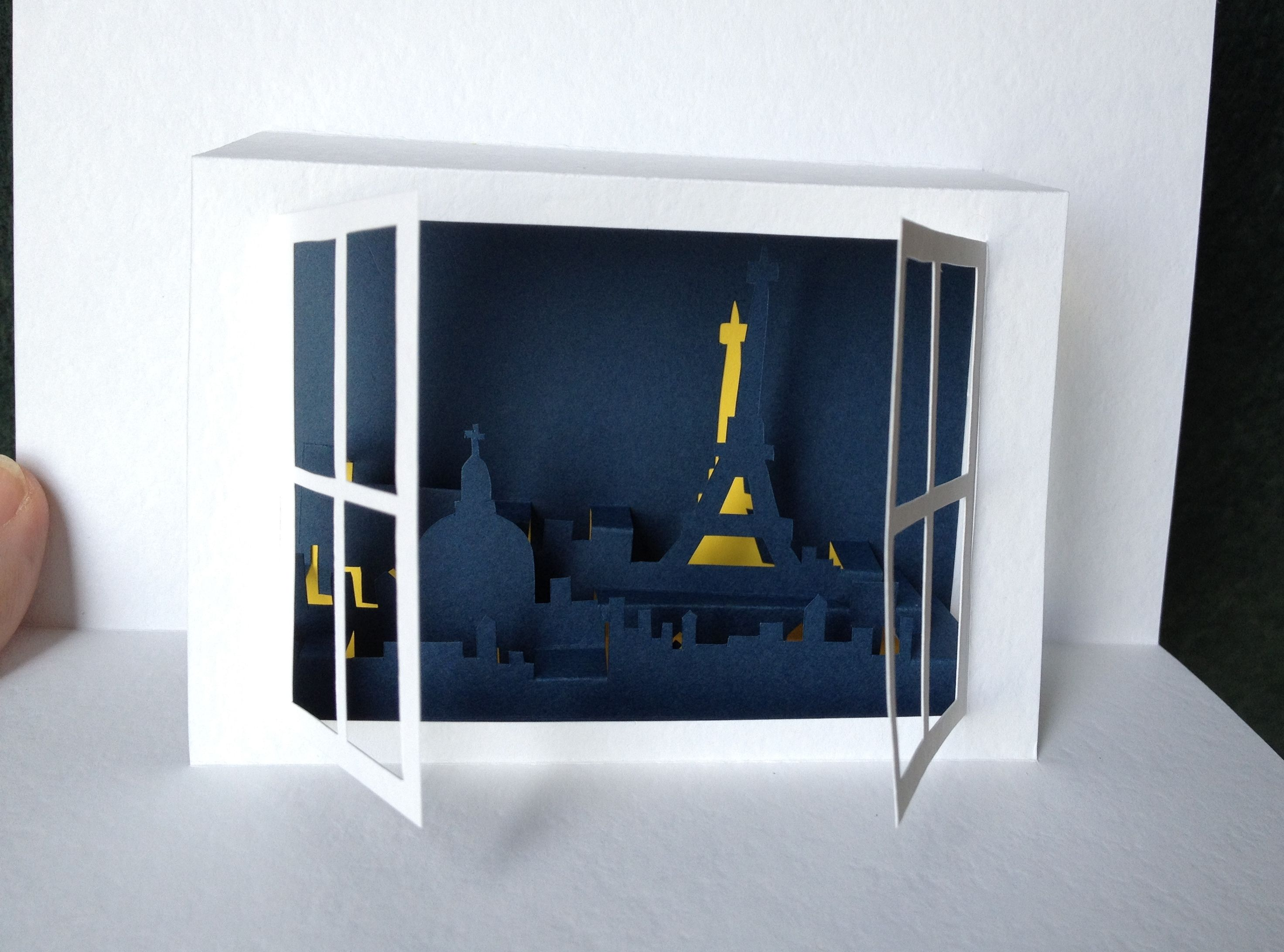 Window On Paris Pop Up Card Template From Kirigami Ideas Projects Techniques Paper Pop Pop Up Card Templates Pop Up Cards