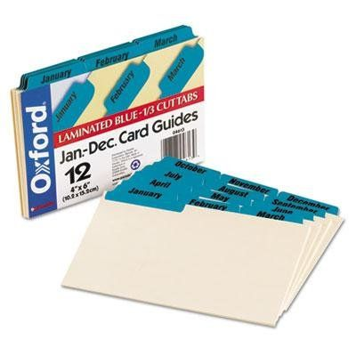 brand new oxford 4 pack laminated tab index card guides monthly 13