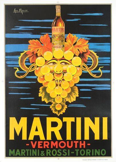 Martini vintage poster print A4 Size
