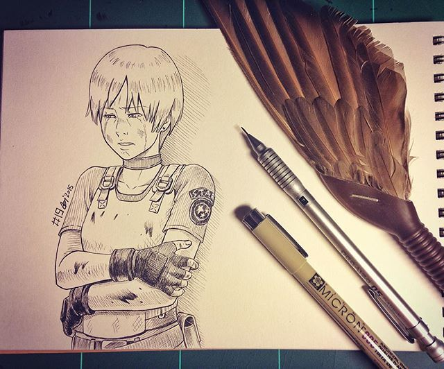 """#inktober 19 """"want me to treat your wounds?"""" #rebeccachambers #residentevil  #capcom"""
