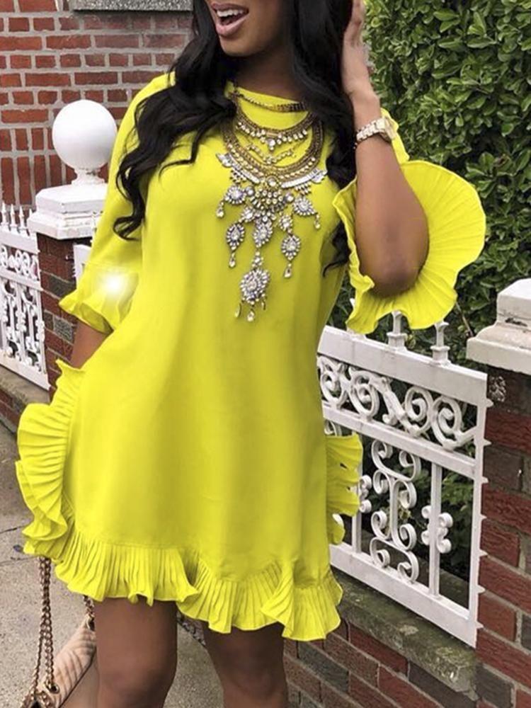 3ef3b2c9c011c Solid Ruffles Design Casual Dress | Dresses in 2019 | Pinterest ...