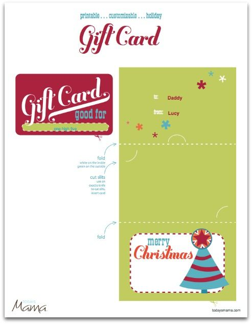 Printable Christmas Gift Certificate Template Gift card template - printable christmas card templates