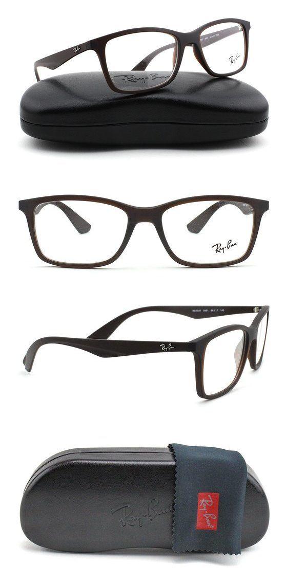 979d38d51a1 Ray-Ban RX7047 Rectangle Unisex Eyeglasses Matte Brown Frame 5451  rayban