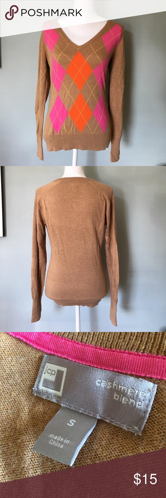 JCP Cashmere Blend Argyle Sweater NWOT JCP cashmere blend argyle v ...