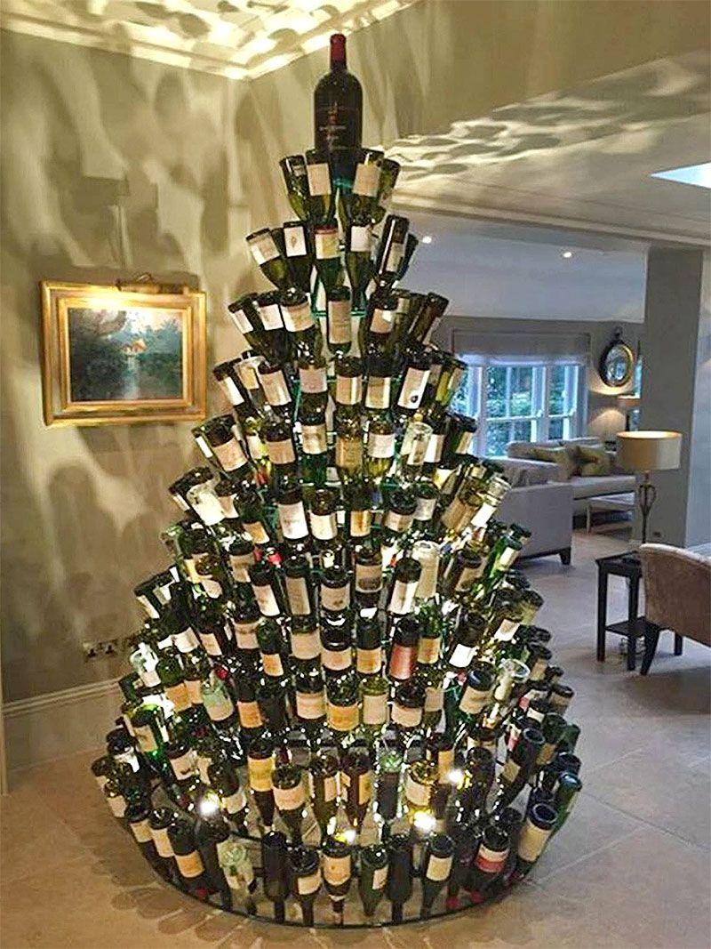 40 Unique Christmas Tree Alternatives Art Home Wall Christmas Tree Wine Bottle Christmas Tree Unique Christmas Decorations