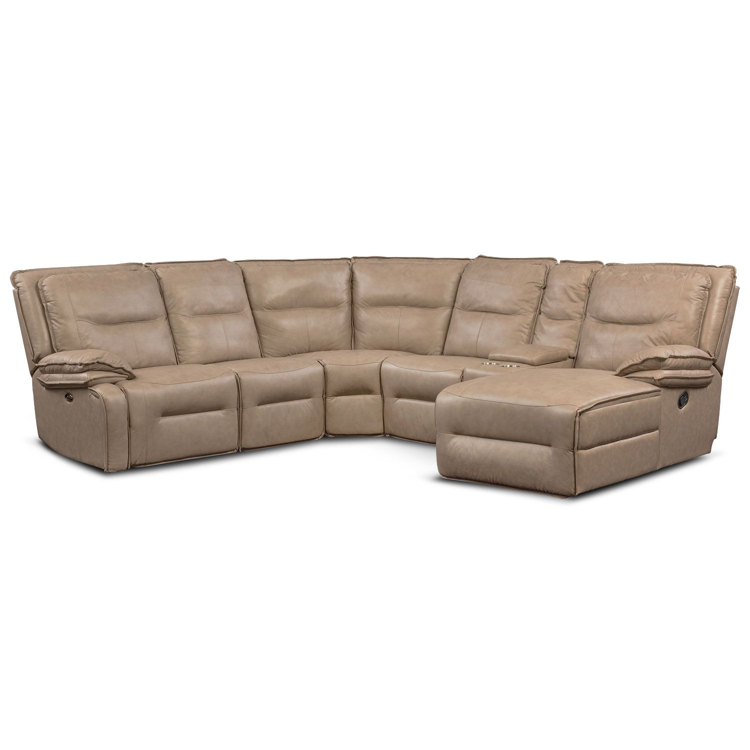 Nikki 6 Piece Power Reclining Sectional With 2 Recliners And Right Facing Chaise Taupe Value Ci Reclining Sectional Sectional Sofa With Recliner Sofa Store