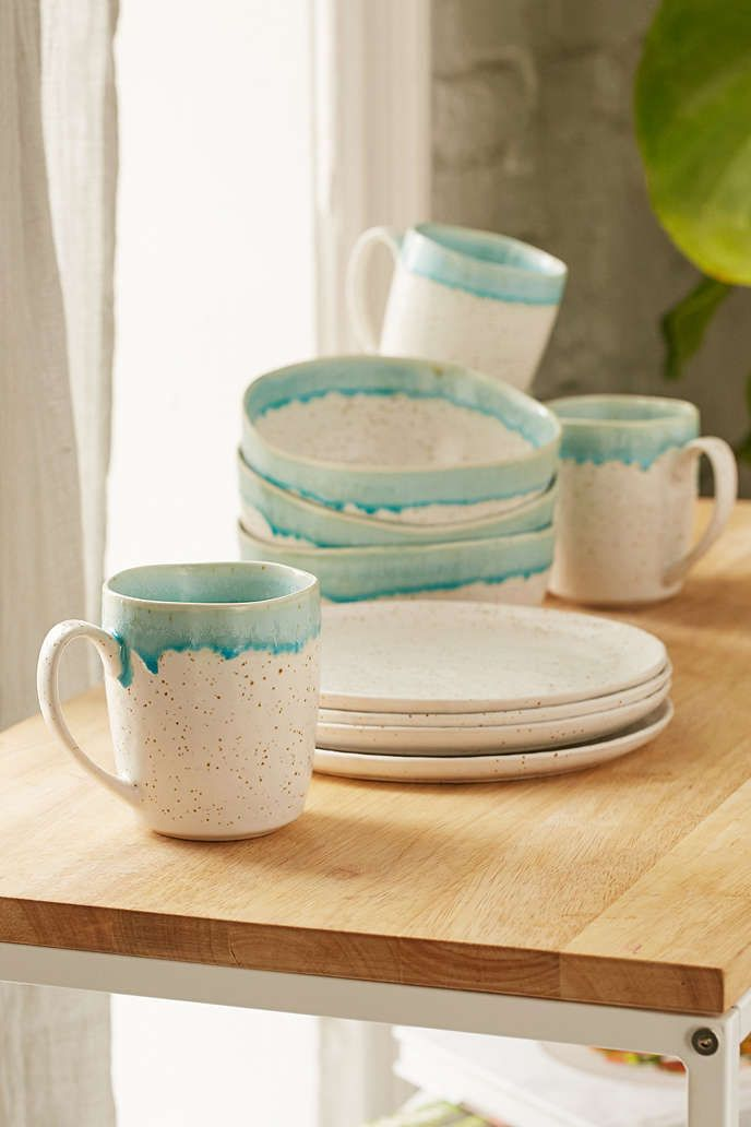 12-Piece Speckle Reactive Glaze Dinnerware Set | Dinnerware, Pottery ...