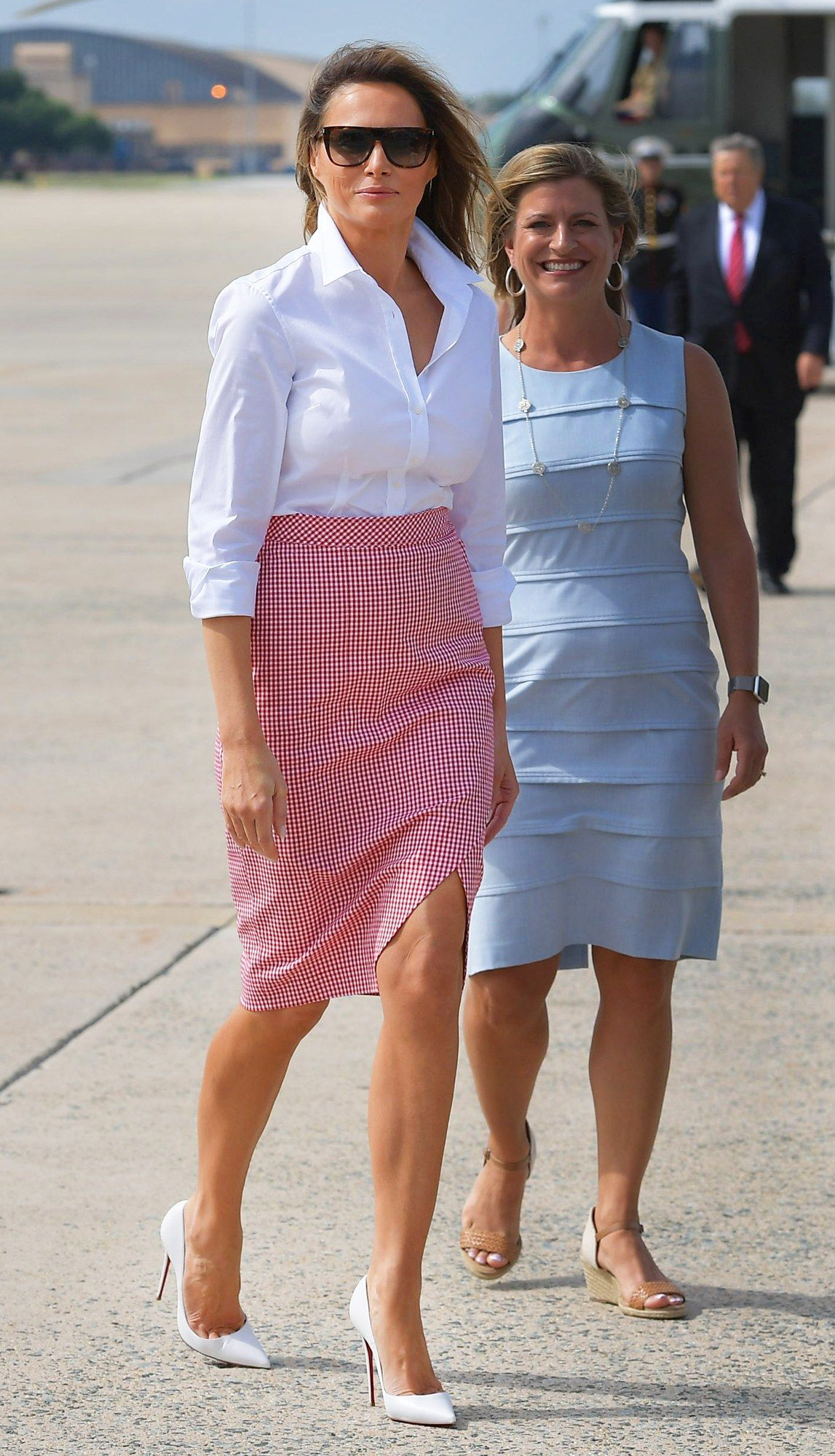8fdd80be479a Melania Trump Wears All-American Gingham for Fourth of July ...