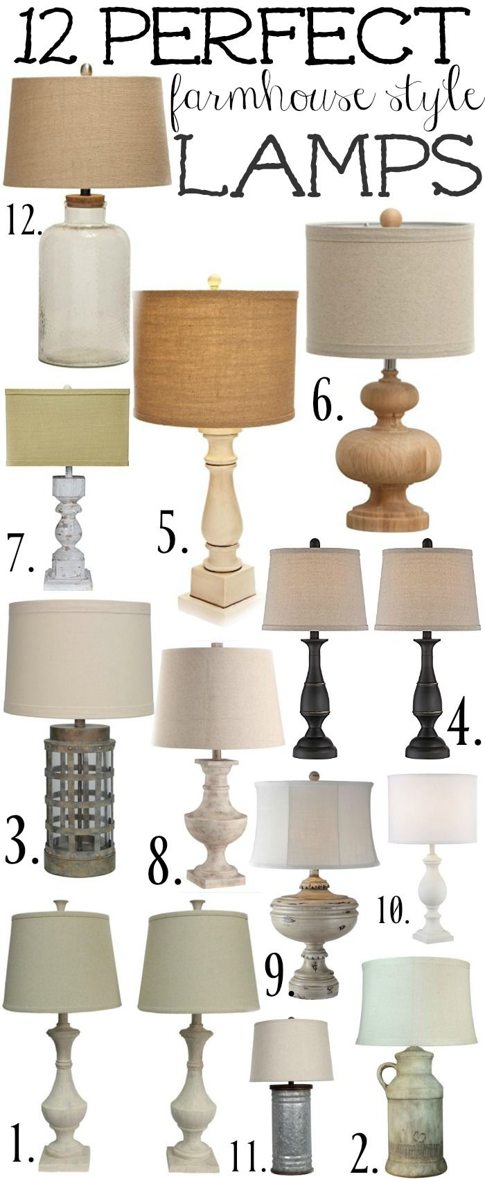 12 Perfect Farmhouse Style Lamps Farm House Living Room Lamps
