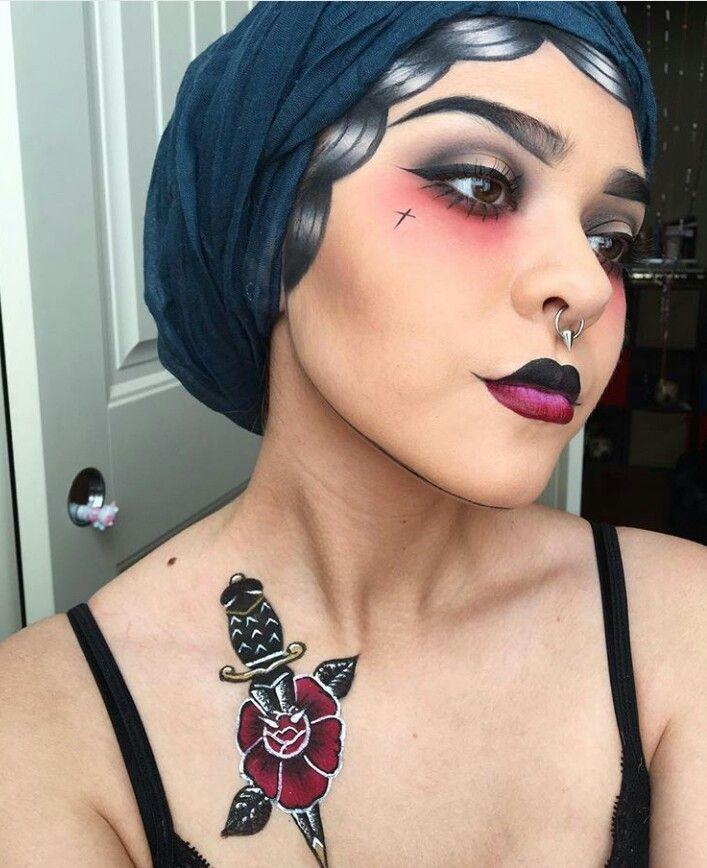 Vintage tattoo inspired Halloween makeup look artistico