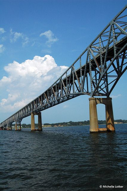 Rappahannock River Bridge VA ~ in high school we'd get to the very top then drive with headlights off until somebody (me) screamed