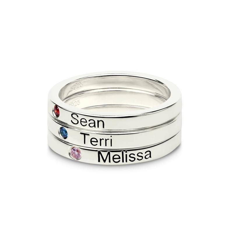 Personalized Name Rings With Birthstone – 9.5 Rose Gold Color