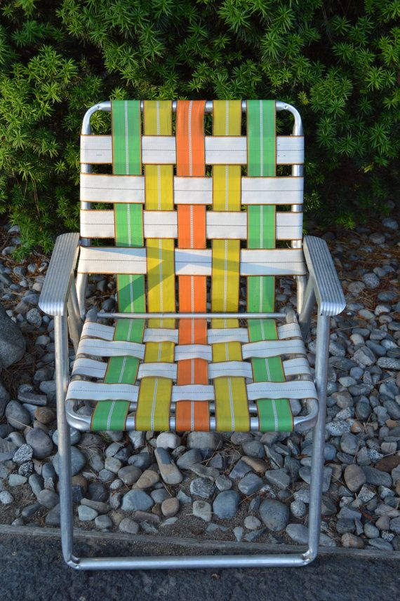 Aluminum Web Lawn Chairs Back Support Chair Cushion Vintage Webbed Camping Equipment Home Decor